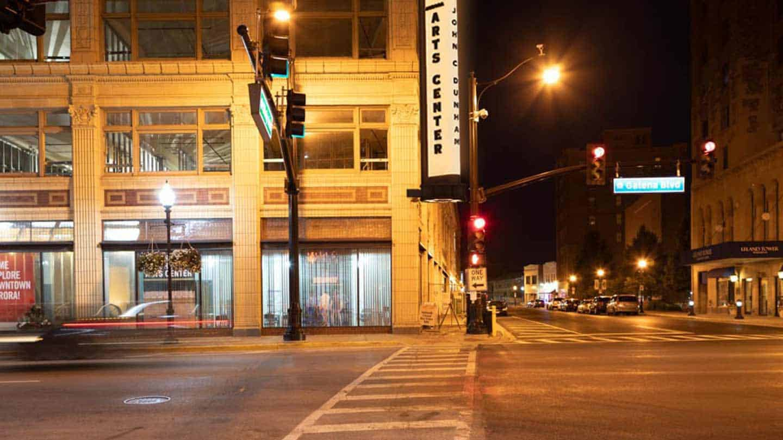 Exterior of John C. Dunham Aurora Arts Center at the corner of Galena Blvd and Stolp Ave in Aurora, IL