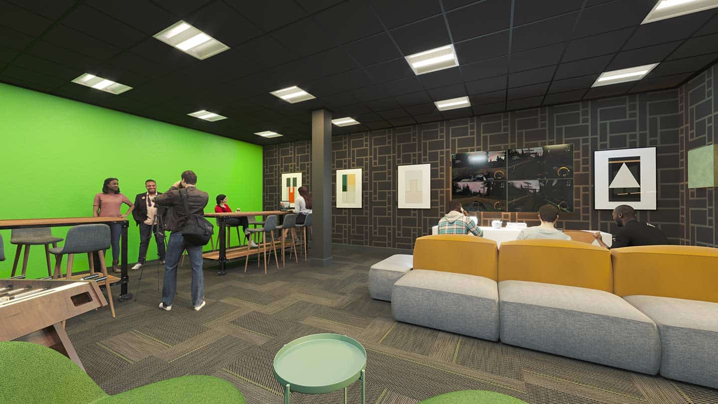Artesan Lofts Collaboration Lab, a resident amenity, in Aurora, IL