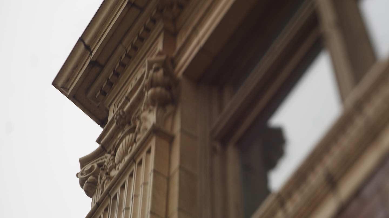 John C Dunham Aurora Arts Center Exterior Close-up of Column