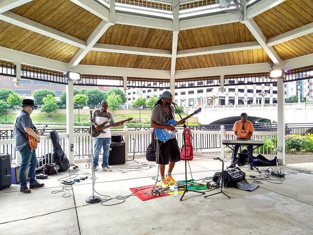 Musical event located at the gazebo across the street from the Artesan Lofts in Downtown Aurora, IL
